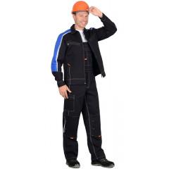 """Костюм """"ДЖЕТ"""": куртка, п/к т-синий с васильковым и оранж.отд (узб. Саржа)"""